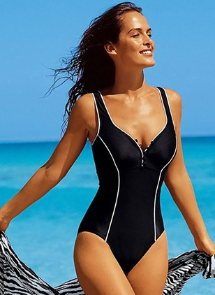Plus Size Color Block One-piece Swimwear