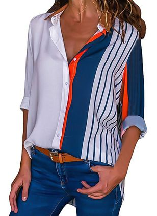 Color Block Casual Collar Long Sleeve Blouses (1278251)