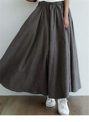 Solid Maxi Casual Skirts (147152088)