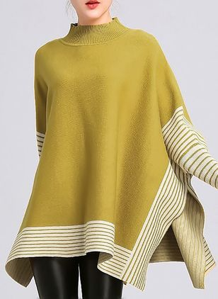 Round Neckline Stripe Oversized Loose Long Sweaters