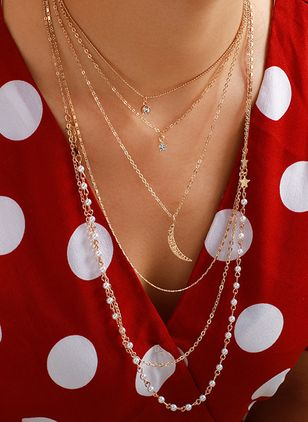 Elegant Geometric Ball Pearls Pendant Necklaces (4126743)