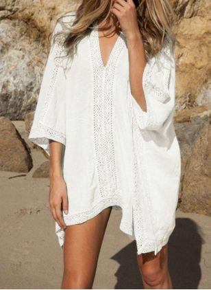 Polyester Solid Cover-Ups Swimwear (146993983)