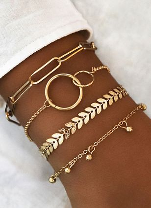 Casual Round No Stone Link Bracelets (1417104)