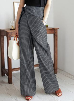 Casual Loose Pattern Pockets Mid Waist Polyester Pants (147037407)