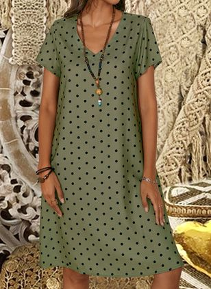 Casual Polka Dot Tunic V-Neckline Shift Dress (1341807)