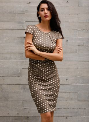 Polka Dot Zipper Short Sleeve Knee-Length Sheath Dress
