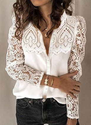 Floral Casual V-Neckline Long Sleeve Blouses (147059570)
