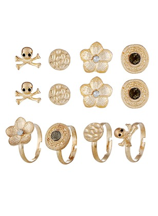 Floral Geometric No Stone Earring Ring Jewelry Sets