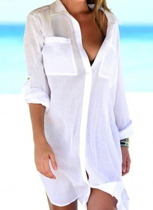 Polyester Solid Cover-Ups Swimwear (147036385)