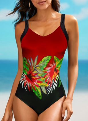 Polyester Blomster One-pieces Badedrakter (147155927)