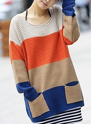 Polyester Round Neckline Color Block Long Pockets Sweaters