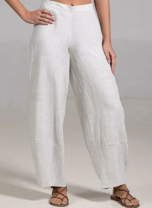 Casual Straight Mid Waist Polyester Pants (147091299)