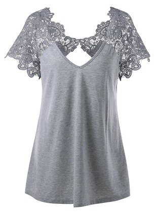Lace Solid V-Neckline Short Sleeve T-shirts