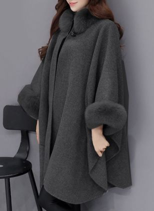 3/4 Sleeves Removable Fur Collar Coats (105809432)