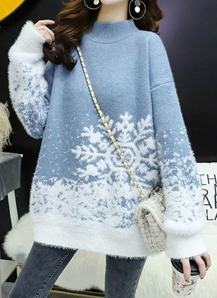 Round Neckline Color Block Christmas Loose Regular Shift Sweaters (146643734)
