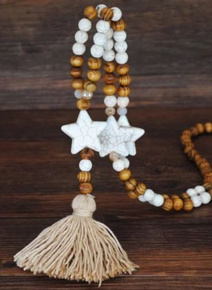 Casual Tassel Ball Star Gemstone Pendant Necklaces (104147641)