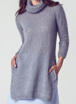 Casual Solid Tunic High Neckline Shift Dress (107561363)
