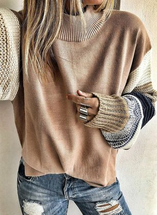 Round Neckline Color Block Casual Loose Regular Shift Sweaters (1423769)