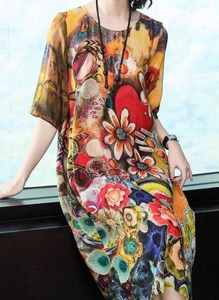 Casual Floral Tunic Round Neckline Shift Dress (5242915)