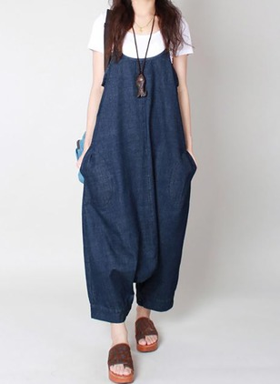 Denim Solid Sleeveless Backless Jumpsuits & Rompers