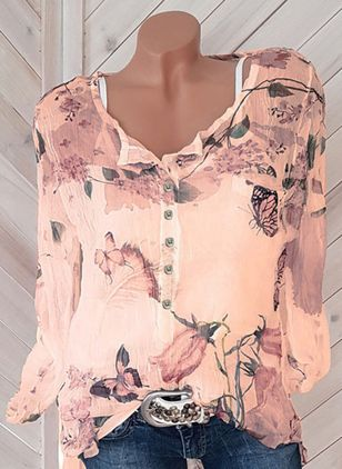 Plus Size Floral V-Neckline Casual Shift Blouses Long Sleeve Plus Blouses (1324048)