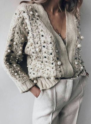 Long Sleeve V-neck Beading Sweaters Coats