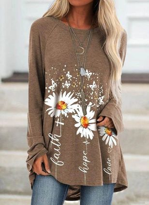 Floral Casual Round Neckline Long Sleeve Blouses (106587160)