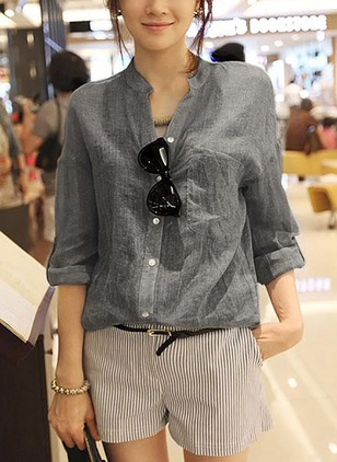 Solid Casual Cotton Linen V-Neckline Long Sleeve Blouses