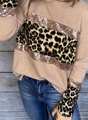 Leopard Casual Round Neckline Long Sleeve Blouses (146739667)