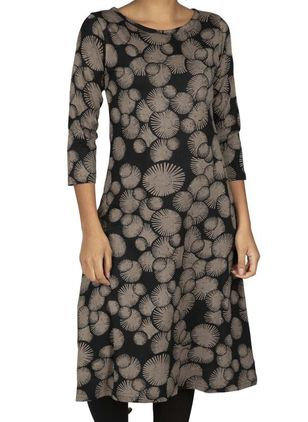 Casual Floral Tunic Round Neckline A-line Dress (107805415)