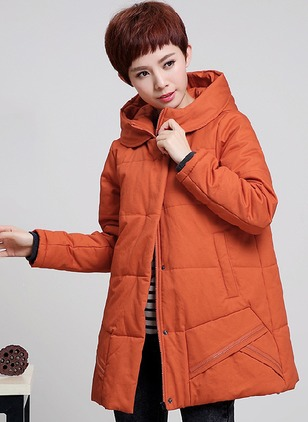 Cotton & Cotton Blend Long Sleeve Hooded Pockets Down Coats Coats