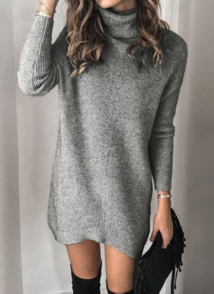 Casual Solid Tunic High Neckline Shift Dress (101241222)