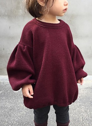 Girls' Solid Round Neckline Long Sleeve Tops