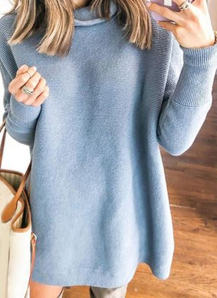 Draped Neckline Solid Casual Loose Long Shift Sweaters (5502032)