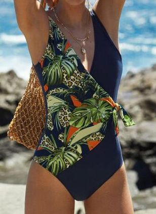 Polyester Floral One-piece Swimwear (4042657)