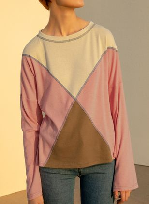 Color Block Casual Round Neckline Long Sleeve Blouses (4101567)