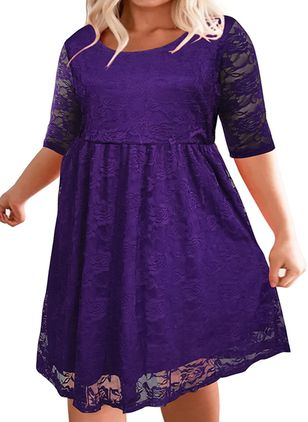 Plus Size Casual Solid Tunic Round Neckline A-line Dress (104839512)