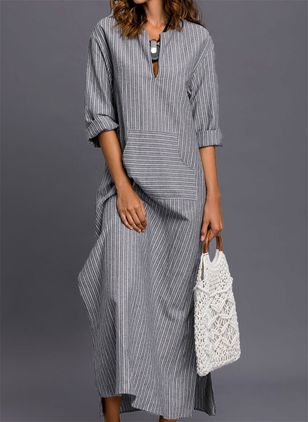 Stripe Pockets 3/4 Sleeves Maxi Shift Dress