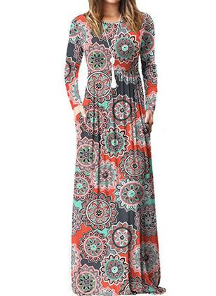Casual Floral Pencil Round Neckline Sheath Dress (111109595)