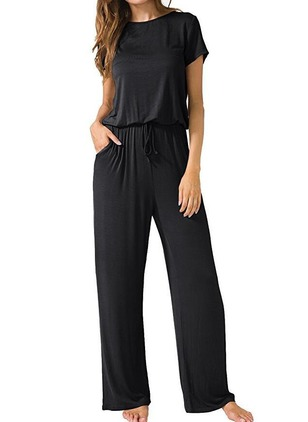 Polyester Solid Short Sleeve Jumpsuits & Rompers