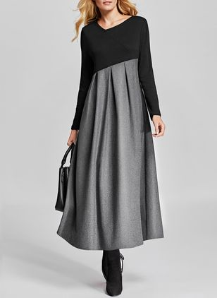 Color Block Ruffles Long Sleeve Midi A-line Dress