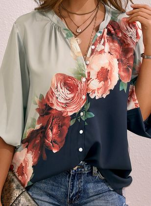 Floral Casual Collar Long Sleeve Blouses (1512430)
