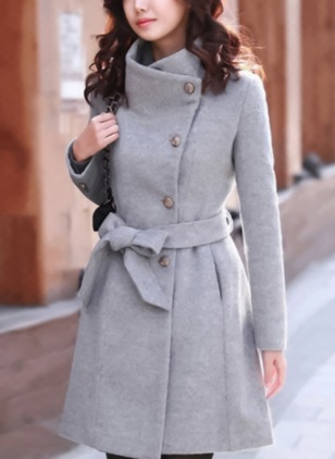 Long Sleeve Lapel Sashes Buttons Pockets Trench Coats