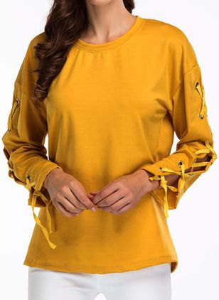 Solid Round Neck Long Sleeve Casual T-shirts (101193601)