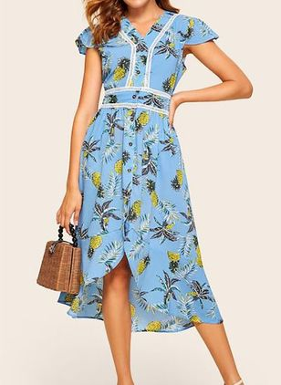 Casual Floral V-Neckline Midi X-line Dress (4074108)