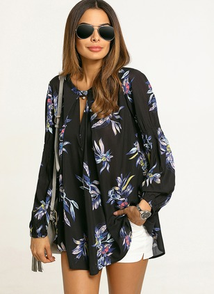 Floral Elegant Polyester Collar Long Sleeve Blouses