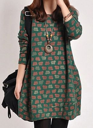 Casual Animal Tunic Round Neckline A-line Dress (111853451)
