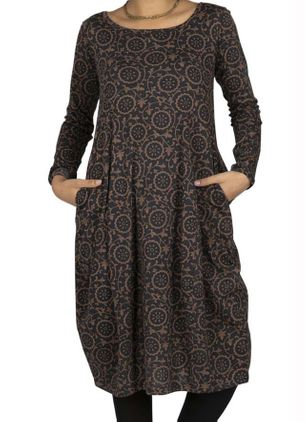 Casual Geometric Tunic Round Neckline A-line Dress (107805421)