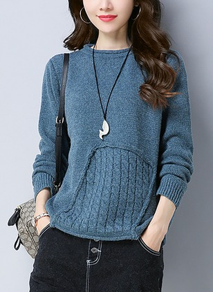 Knitted Round Neckline Solid Loose Others Sweaters