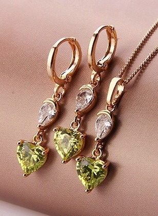 Heart Round Crystal Necklace Earring Jewelry Sets